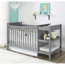 Nursery Furniture Set by Baby Relax Emma Crib Changer Combo And Mattress Bundle Gray