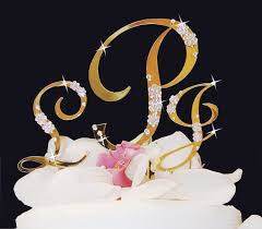 bling wedding cake toppers monogram gold rhinestone inital cake toppers with swarovski