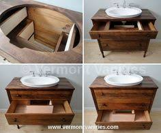 Old Dresser Made Into Bathroom Vanity I Just Repurposed An Old Dresser To Use As A Vanity In Our New