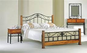 Wood And Metal Bed Frame Iron Bed Frame With Pine Wood Posts Metal Bed Frame Ml 023