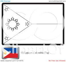 clipart of a coloring page and sample for a philippines flag