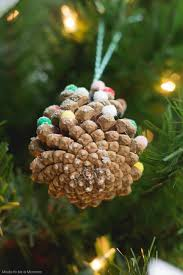 snowy pinecone ornament made to be a momma