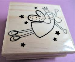 cute christmas angel paper craft rubber stamp christmas stamp wood