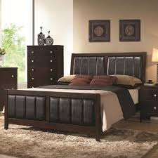 Bed With Headboard And Drawers Bedroom Dark Brown Stained Wooden Queen Size Bed With Black