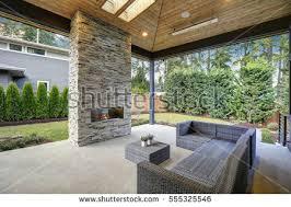 beautiful landscape design backyard garden patio stock photo
