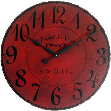 Antique Red Kitchen Cabinets by 30 In Large Wall Clock Paris Hotel Antique Style Red Big French