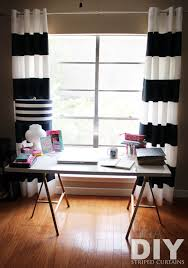 Black And White Stripe Curtains Contemporary Living Room With Horizontal Striped Curtains Custom