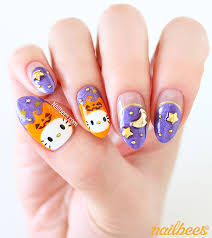 velvet halloween kitty nail art nailbees