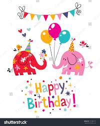 happy birthday card cute elephants stock vector 101086135