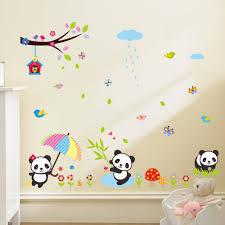 stickers panda chambre bébé stickers bébés pandas jouant sous la pluie stickers animaux