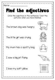 adjectives printable worksheet pack kindergarten first second