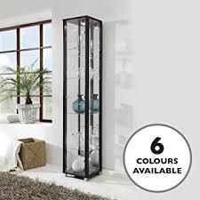 Venetian Glass Display Cabinet Black Single Door Glass Display Cabinet With Mirror Back 4