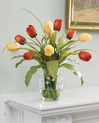 shop mixed tulip silk flower arrangement at petals