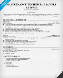 Sample Maintenance Technician Resume by Electrical Maintenance Technician Resume Resume Sample