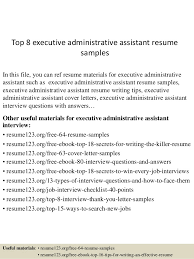 executive administrative assistant resume top 8 executive administrative assistant resume sles 1 638 jpg cb 1429945286