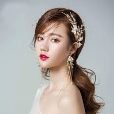 headdress for wedding hair flowers pearls headdress ear clip two sets