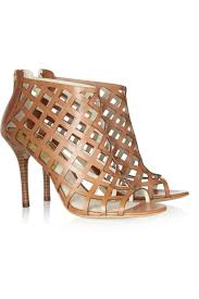 michael michael kors yvonne cutout leather sandals in brown lyst