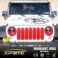 jeep wrangler front grill grille insert and red headlight trim kit for jeep wrangler jk