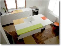 cuisine coloré plan de cuisine corian îlot central coloré crea diffusion