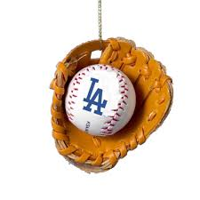 los angeles dodgers and glove ornament