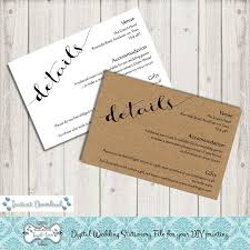 Editable Wedding Invitation Cards Digital Diy Editable Wedding Information Cards Printable