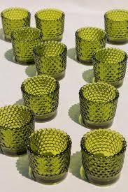 vintage tea light holders vintage green hobnail glass tea light candle cups votive holders