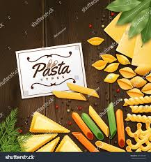 Wooden Table Background Vector Background Different Kinds Pasta Green Spices Stock Vector
