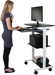 Standing Desk On Wheels Amazon Com Burei Mobile Workstation Cart Standing Computer Desk