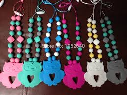baby teething necklace silicone images Food grade silicone teething necklace with rainbow heart beads jpg