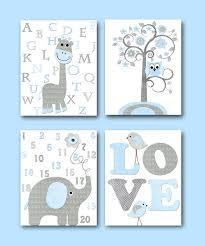 Baby Boy Wall Decor Blue Grey Elephant Decor Giraffe Decor For Nursery Canvas Giraffe