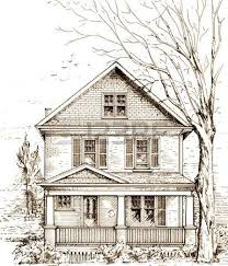 ink sketch of a typical settlers log cabin circa 1800 original