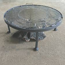cowboy fire pit firepit stand heavy duty round metal stand bbq grate