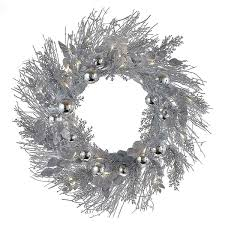 kurt adler 24 inch battery operated silver twig led wreath free