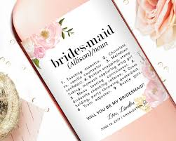 will you be my bridesmaid wine labels be my bridesmaid gift label definition studio b labels