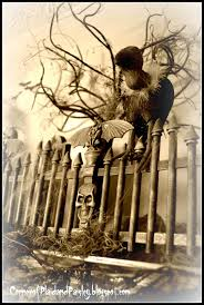 corner of plaid and paisley halloween graveyard mantel st