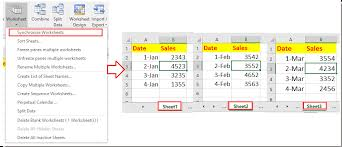 how to synchronously input or select cells across multiple sheets