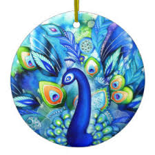 White Peacock Christmas Decorations Uk by 197 Peacock Feather Ceramic Christmas Decorations Zazzle Co Uk