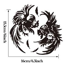 personality fighting roosters decal sticker chicken car truck