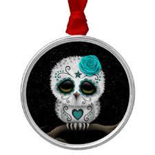 sugar skull owl ornaments keepsake ornaments zazzle