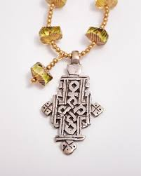 glass cross necklace images Czech cut glass necklace with ethiopian cross sold suzieandjack jpg