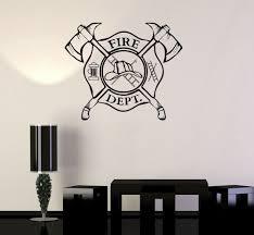 vinyl wall decal fire department emblem shield firefighter vinyl wall decal fire department emblem shield firefighter stickers ig3240 wallstickers4you