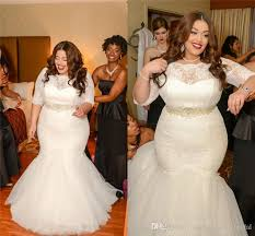 plus size wedding dresses 2017 vintage ivory lace pearls mermaid