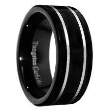 men ring size 8mm black tungsten carbide polished men ring size 7 15