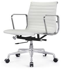 m341 eames style aluminum group office chair in white leather