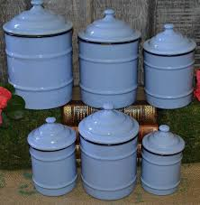 vintage french light blue enamel canisters set of 6 kitchen