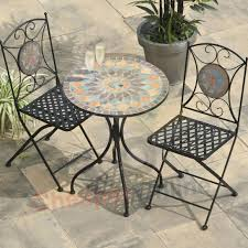 Wicker Bistro Table And Chairs Patio Bistro Table Set New Metal Furniture Mosaic Chairs