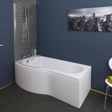 ceramica p shaped shower bath bundle 1700mm left hand