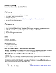 medical terminology lesson plan the week of 2 18 15