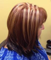 box layer haircut brighter red with soft blond highlights dark shadow box to accent
