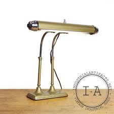 Tall Desk Lamp by Vintage Industrial Brass Bankers Lawyers Piano Desk Lamp